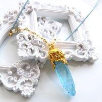 水晶オーラクォーツアクアブルー ポイントネックレス