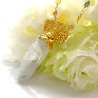 水晶ポイント 白孔雀のネックレス