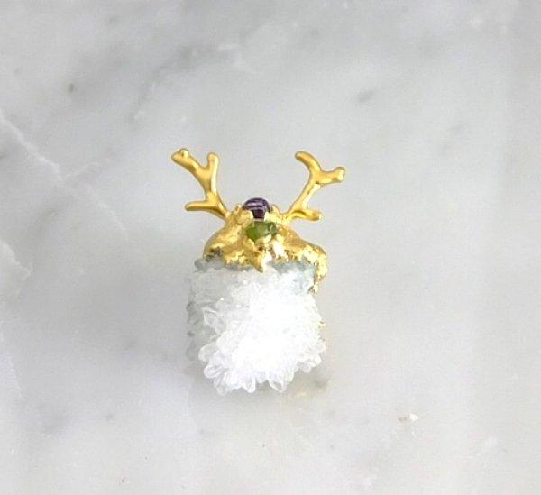 画像1: 水晶クラスター アントレのピンブローチ