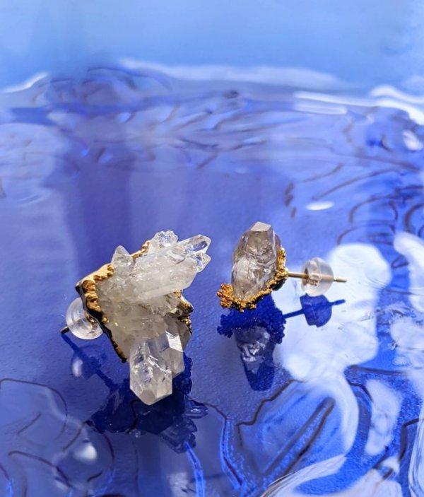 画像2: 原石ピアス  水晶クラスタートマスゴンサガ産