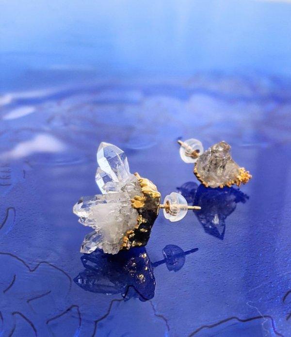画像1: 原石ピアス  水晶クラスタートマスゴンサガ産
